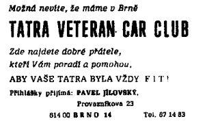 Lísteček, rozdávaný členy klubu v Brně.